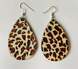 Leopard print dangles - Fabric on wood