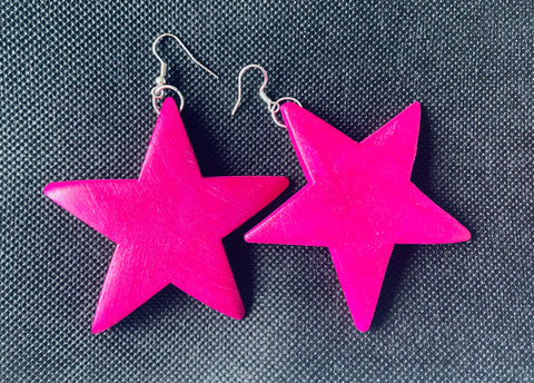 Star earrings - Wood