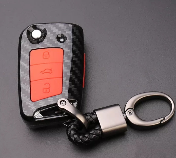 Volkswagen Carbon Fiber style Car Key Case