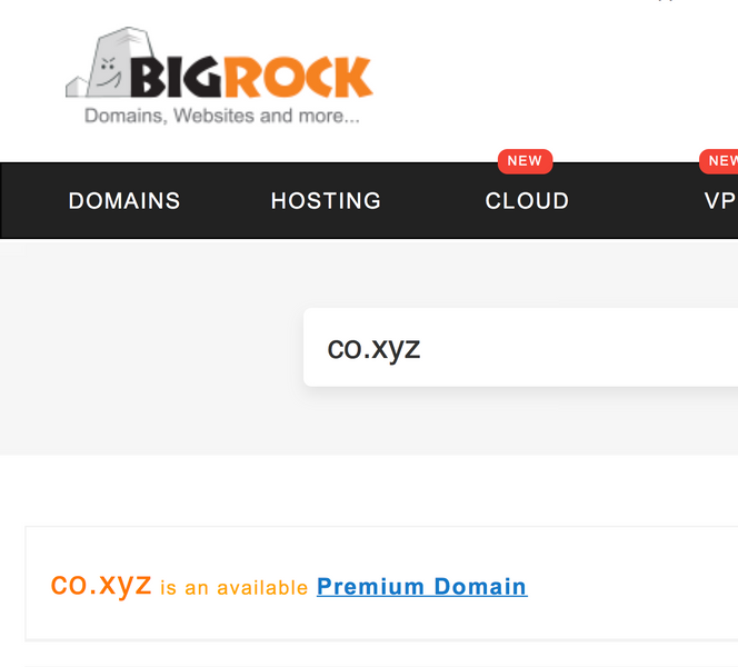 co.xyz Premium Domain @ BigRock