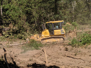 Bulldozer pushing tree while clearing land in Cherokee County Alabama