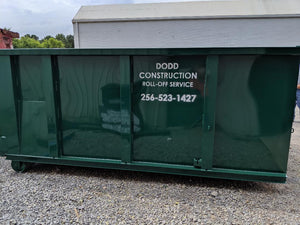 New roll-off dumpster for rent through Dodd Construction in Centre, Alabama