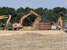 Load image into Gallery viewer, Dump truck being loaded by excavator at new Tractor Supply Company in Centre, Alabama
