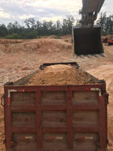 Load image into Gallery viewer, excavator trackhoe loading bed of dump truck with chert