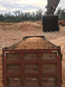 excavator trackhoe loading bed of dump truck with chert