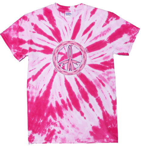 Peace Love Life Tie Dye T-shirt  - Pink