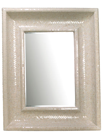 "46.5""Wx58""L Glass Mosaic Mirror White (pack of 1)"