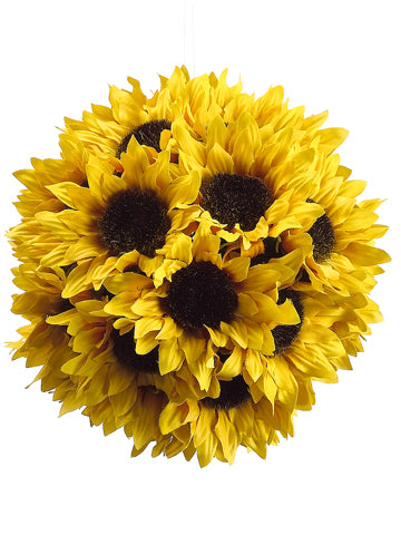 "7"" Sunflower Ball with Hanger  Yellow (pack of 12)"