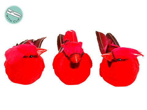 "3"" Cardinal with Clip (3 ea/set) Red (pack of 4)"