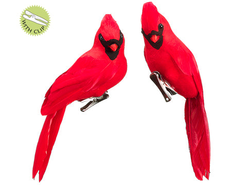 "8"" Cardinal with Clip in Bag (2 ea/bag) Red (pack of 6)"