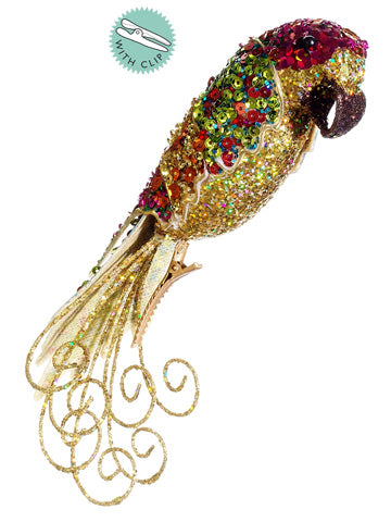 "3""Hx7.5""L Glittered Parrot w/Clip Ornament Gold Mix (pack of 12)"