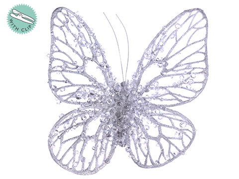 "5.5"" Glittered/Beaded Butterfly with Clip Silver (pack of 12)"
