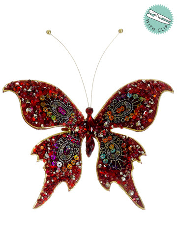"7"" Jewel Butterfly w/Clip  Red (pack of 12)"