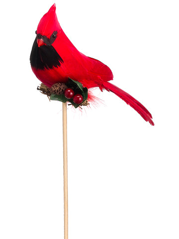 "6"" Cardinal Pick w/Holly  Red (pack of 12)"