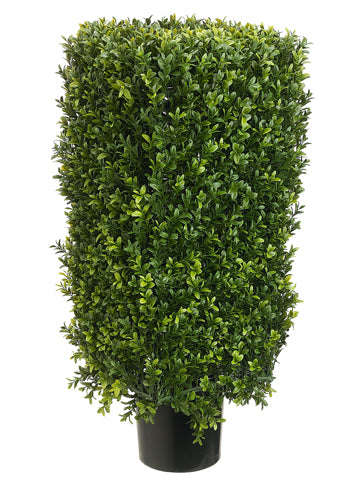 "30"" Rectangular Boxwood Topiary in Plastic Pot Two Tone Green (pack of 1)"