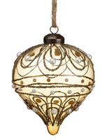 "4.75"" Pearl Glass Onion Ornament Bronze Pearl (pack of 4)"