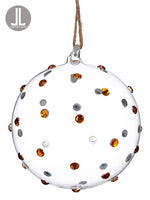 "6"" Diamond Glass Ball Ornament Clear Gold (pack of 6)"