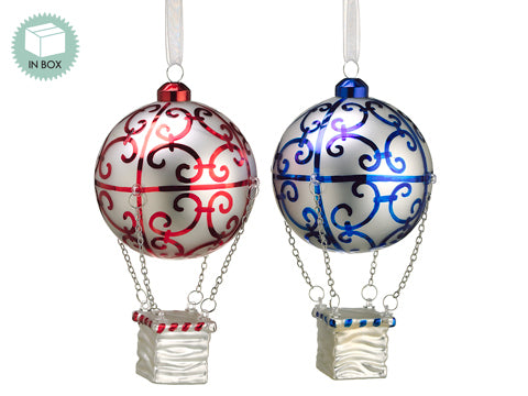 "8"" Assorted Glass Hot Balloon Ornament x2 in Box Red White (pack of 2)"