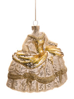 "4.5"" Glittered Glass Dress Ornament Gold (pack of 4)"