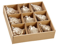 "3.5""-4"" Assorted Glittered Glass Shell Ornament in Box (9 ea./Box) Antique Gold (pack of 1)"