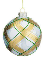 "4"" Glittered Glass Ball Ornament Cream Gold (pack of 6)"