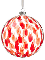 "6"" Glass Ball Ornament  Clear Red (pack of 2)"