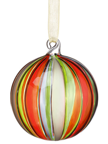 "3"" Glass Ball Ornament  Red Green (pack of 6)"