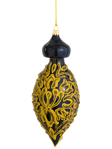 "8.5"" Florentine Glass Finial Ornament Black Gold (pack of 2)"