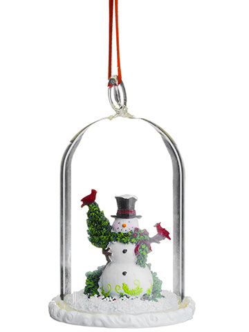 "4.5"" Snowman in Glass Dome Ornament White Green (pack of 2)"