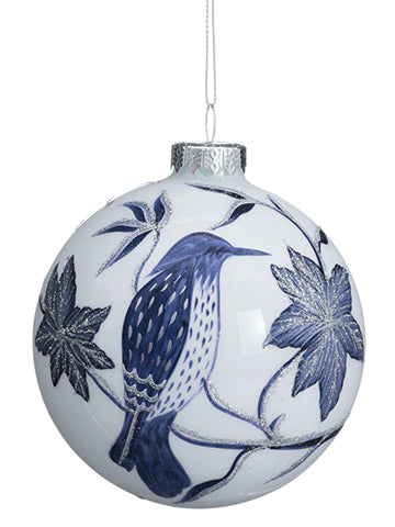 "3.9""D Glass Ball Ornament  Blue White (pack of 6)"