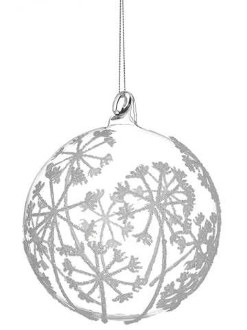 "4.75"" Dandelion Glass Ball Ornament Clear (pack of 6)"