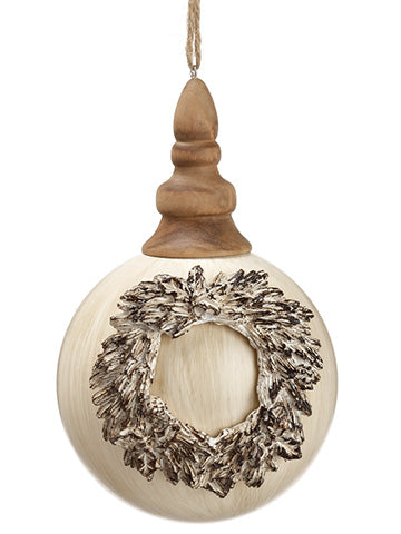 "6.5"" Glass Wreath Ball Ornament With Finial Top Beige (pack of 6)"
