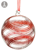 "6"" Glittered Plaid Glass Ball Ornament Clear Red (pack of 4)"