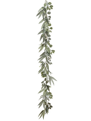 6' Eucalyptus Garland w/Seed  Green Two Tone (pack of 4)