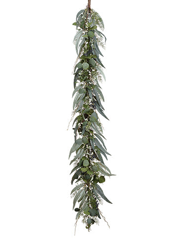 5' Eucalyptus/Berry/Pine Garland Green Gray (pack of 1)