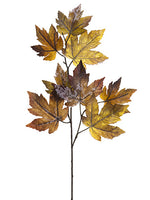 "23"" Frosted Maple Leaf Spray  Brown Ice (pack of 12)"
