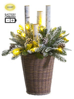 "28"" Battery Operated Snowed Pine/Birch With 15 LED Lights in Basket Green Snow (pack of 1)"