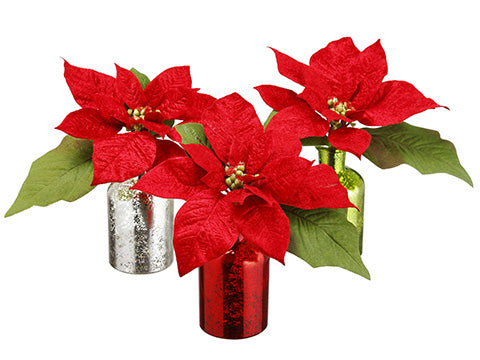 "7.5"" Velvet Poinsettia in Glass Vase (3 Ea/set) Red (pack of 4)"