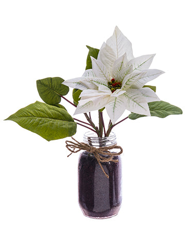 "12"" Velvet Poinsettia in Glass Vase White (pack of 4)"