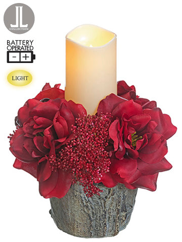 "10""Hx9""D Wild Rose/Eucalyptus Seed/ Sedum in Cement Pot With Battery Operated Candle R (pack of 4)"
