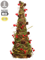 "24"" Battery Operated Rosehip Cone Tree With Cone Red Brown (pack of 2)"
