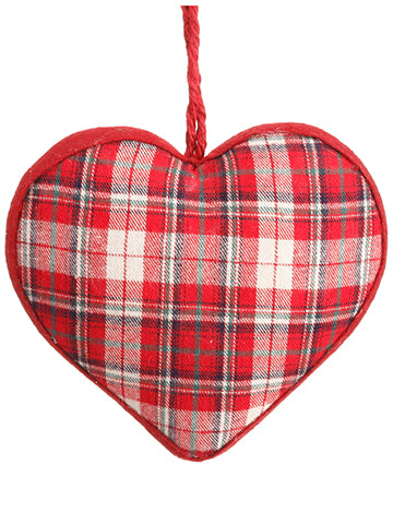 "8"" Plaid Heart Ornament  Red White (pack of 12)"