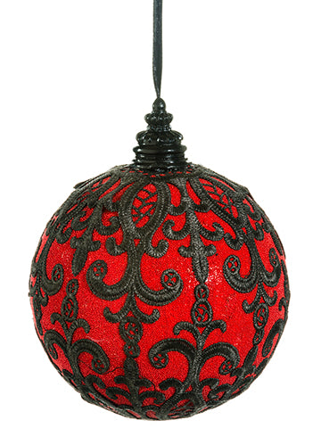 "6"" Beaded Lace Ball Ornament  Red Black (pack of 6)"