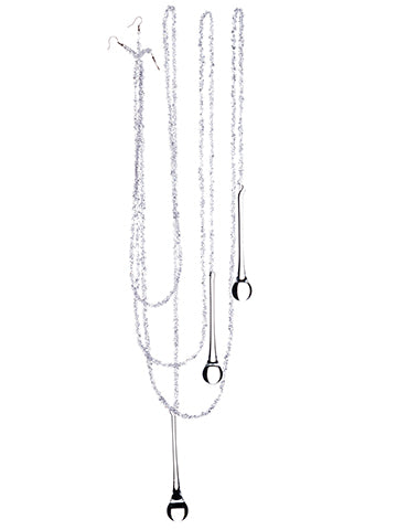 4' Beaded Icicle Ornament w/Glass Drop x3 in Box White Clear (pack of 8)