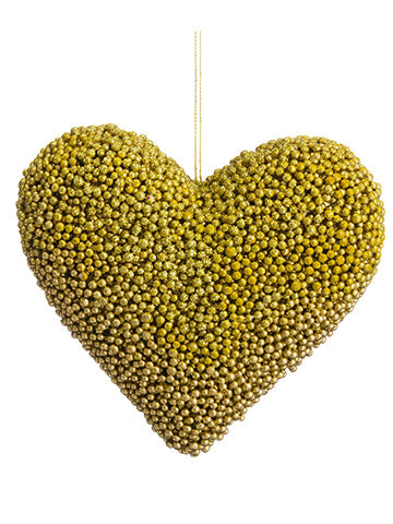 "5.5"" Glittered Berry Heart Ornament Gold (pack of 12)"