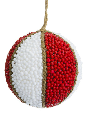 "5.25"" Berry Ball Ornament  Red White (pack of 12)"