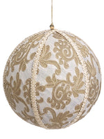 "10"" Jacquard Ball Ornament  Gold (pack of 2)"