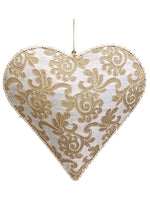 "10"" Jacquard Heart Ornament  Gold (pack of 2)"
