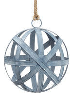 "9.5"" Metal Ball Ornament  Antique Blue (pack of 2)"