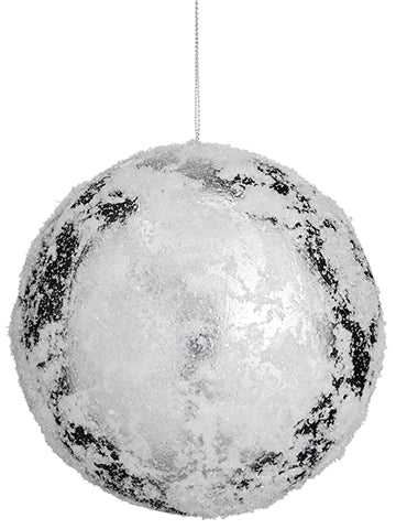 "5"" Snowed Ball Ornament  White Silver (pack of 12)"